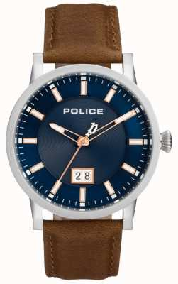 Police | Mens Collin Watch | Brown Leather Strap | Blue Dial | 15404JS/03