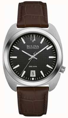 Bulova Men's Black Dial Brown Leather 96B253