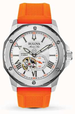 Bulova Men's Automatic Marine Star Orange Rubber Strap 98A226