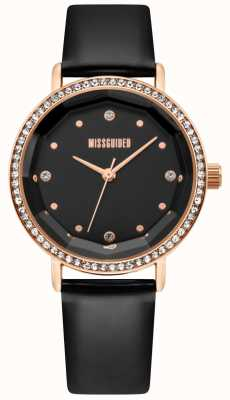 Missguided | Womens Black Leather Strap | Black Dial | Crystal Bezel | MG021BRG