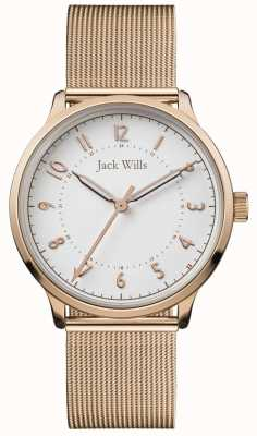 Jack Wills | Womens Knowle | Rose Gold Mesh | White Dial | JW017WHRS