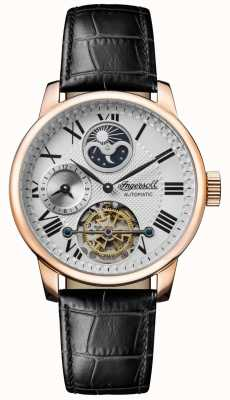 Ingersoll   Mens The Riff   Black Leather Strap   White Dial   I07402