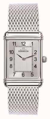 Michel Herbelin Mens Esprit Art Deco Stainless Steel Mesh Silver Dial 17468/22BM