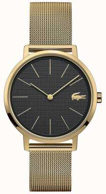 Lacoste | Womens Moon | Gold Plated Mesh Bracelet | Black Dial | 2001073