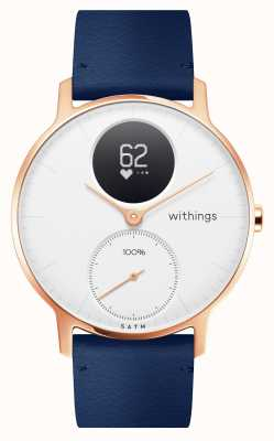 Withings Steel HR 36mm Rose Gold Blue Leather (+Grey Silicone Strap) HWA03B-36WHITE-RG-L.BLUE-ALL-INTER