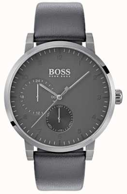 BOSS Mens Oxygen Grey Leather Strap Grey Dial 1513595