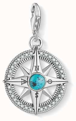 Thomas Sabo Charm Pendant 925 Blackened Silver Turquoise Compass 1773-646-17