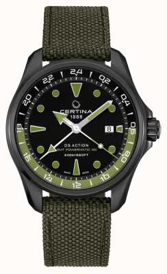 Certina Mens DS Action GMT Green Strap Black Dial C0324293805100