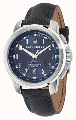 Maserati Successo Blue Dial Dark Blue Leather Strap R8851121003