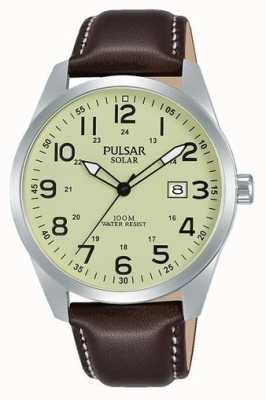 Pulsar Mens Sport Solar Brown Leather Strap PX3165X1