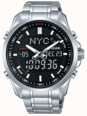 Pulsar Mens Stainless Steel Bracelet Digital Analog Display PZ4021X1