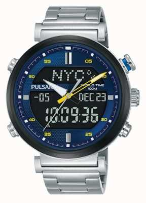 Pulsar Mens Stainless Steel Digital Analog Blue Dial PZ4049X1