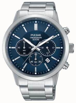 Pulsar Mens Chronograph Blue Dial Stainless Steel PT3741X1