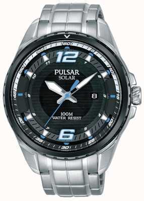 Pulsar Mens Solar Stainless Steel Bracelet Black Dial PX3127X1