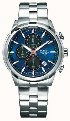 Pulsar Mens Chronograph Blue Dial Stainless Steel Bracelet PM3115X1