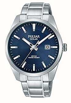 Pulsar Mens Solar Blue Dial Stainless Steel Bracelet PX3181X1