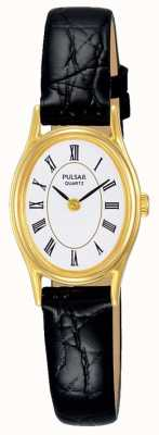 Pulsar Womens White Dial Black Leather Strap PPGD74X1