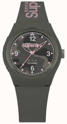 Superdry | Womens Urban | Khaki Silicone Strap | Grey Patterned Dial SYL254NP