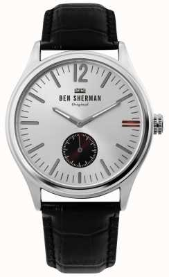 Ben Sherman | Mens Harrison City | Silver Dial | Black Croc Leather | WB035B