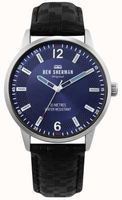 Ben Sherman | Mens Daltrey Social | Black Leather Strap | Blue Dial | WB029BU