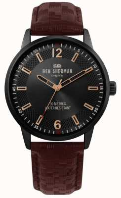 Ben Sherman | Mens Daltrey Social | Brown Leather Strap | Black Dial | WB029TB