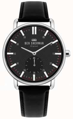 Ben Sherman | Mens Brighton City | Black Leather Strap | Black Dial | WB033BB