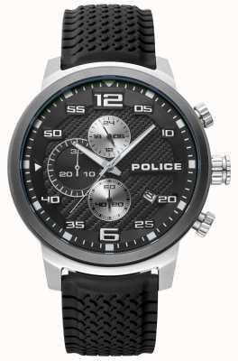 Police | Mens Bromo | Black Silicone Strap | Black Dial | 15657JSTU/02P