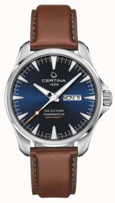 Certina | DS Action Day-Date Powermatic 80| Blue Dial | Brown Strap C0324301604100