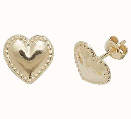 Treasure House 9k Yello Gold Heart Stud Earrings ES415
