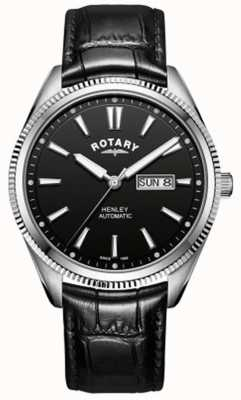 Rotary | Mens Henley | Serrated Bezel | Black Dial | Black Leather GS05380/04