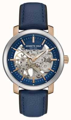 Kenneth Cole | Mens Automatic | Blue Leather Strap | Blue Skeleton Dial | KC50776002