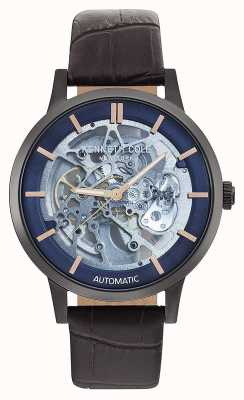 Kenneth Cole | Mens Automatic | Brown Leather Strap | Blue Dial | KC50559001