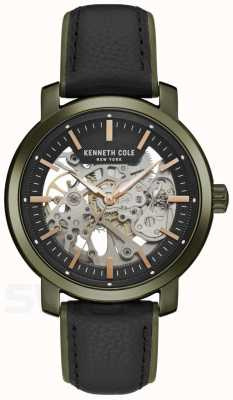 Kenneth Cole | Mens Automatic | Black Leather | Black Skeleton Dial | KC50776006