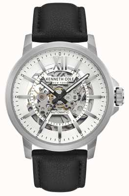 Kenneth Cole | Mens Automatic | Black Leather | Silver Skeleton Dial | KC50779001