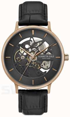 Kenneth Cole | Mens Automatic | Rose Gold Case | Black Leather | KC50780001