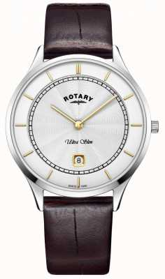 Rotary Mens Ultra Slim Silver Dial Brown Leather Strap GS08300/02