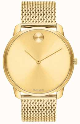 Movado Mens Gold PVD Plated Mesh Gold Dial 3600588