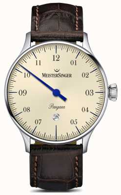 MeisterSinger Pangaea Date Brown Alligator Strap Ivory Dial PMD903