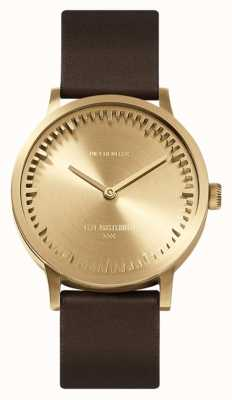 Leff Amsterdam | Tube Watch | T32 | Brass | Brown Leather Strap | LT74323