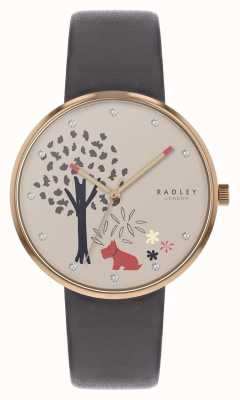 Radley | Womens Grey Leather Strap | Tree And Dog Motif Dial | RY2788