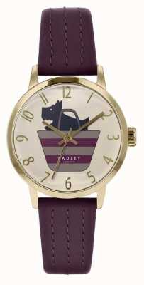 Radley | Womens Purple Leather Strap | Printed Dog In Bag Dial | RY2796