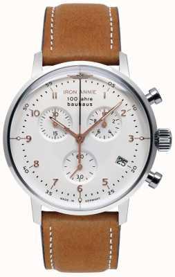 Iron Annie Bauhaus   Chrono   White Dial   Brown Leather 5096-4