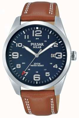Pulsar | Mens Brown Leather Strap | Blue Dial | PX3189X1
