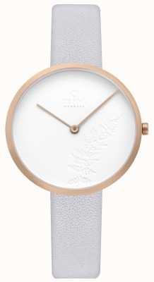 Obaku | Womens Hassel Natur Dove | Light Grey Leather | White Dial V219LXVHRL