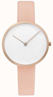 Obaku | Womens Hassel Natur Nude | White Dial | Nude Leather Strap V219LXVHRX