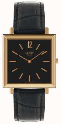 Henry London Heritage Mens Square Watch Black Dial Black Leather Strap HL34-QS-0270