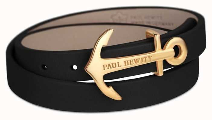 Paul Hewitt gold Anchor Black Leather PH-WB-G-2M