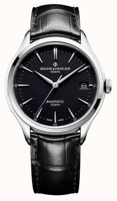Baume & Mercier | Mens Clifton | Baumatic | Black Leather | Black Dial | BM0A10399
