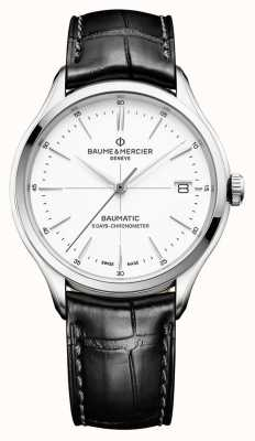 Baume & Mercier | Mens Clifton | Baumatic | Black Leather | White Dial | M0A10518