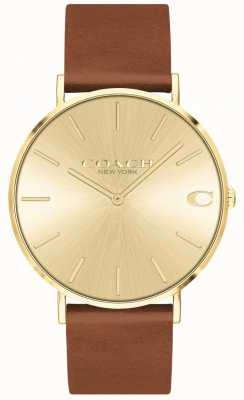 Coach | Mens | Charles | Brown Leather Strap | Gold Dial | 14602433